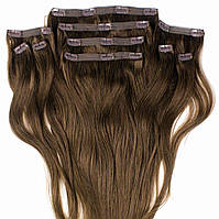 Набор натуральных волос на клипсах 50 см 150 грамм Beauties Factory оттенок 4 шоколад