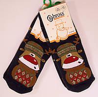 Махровые носки с тормозами детские с оленями