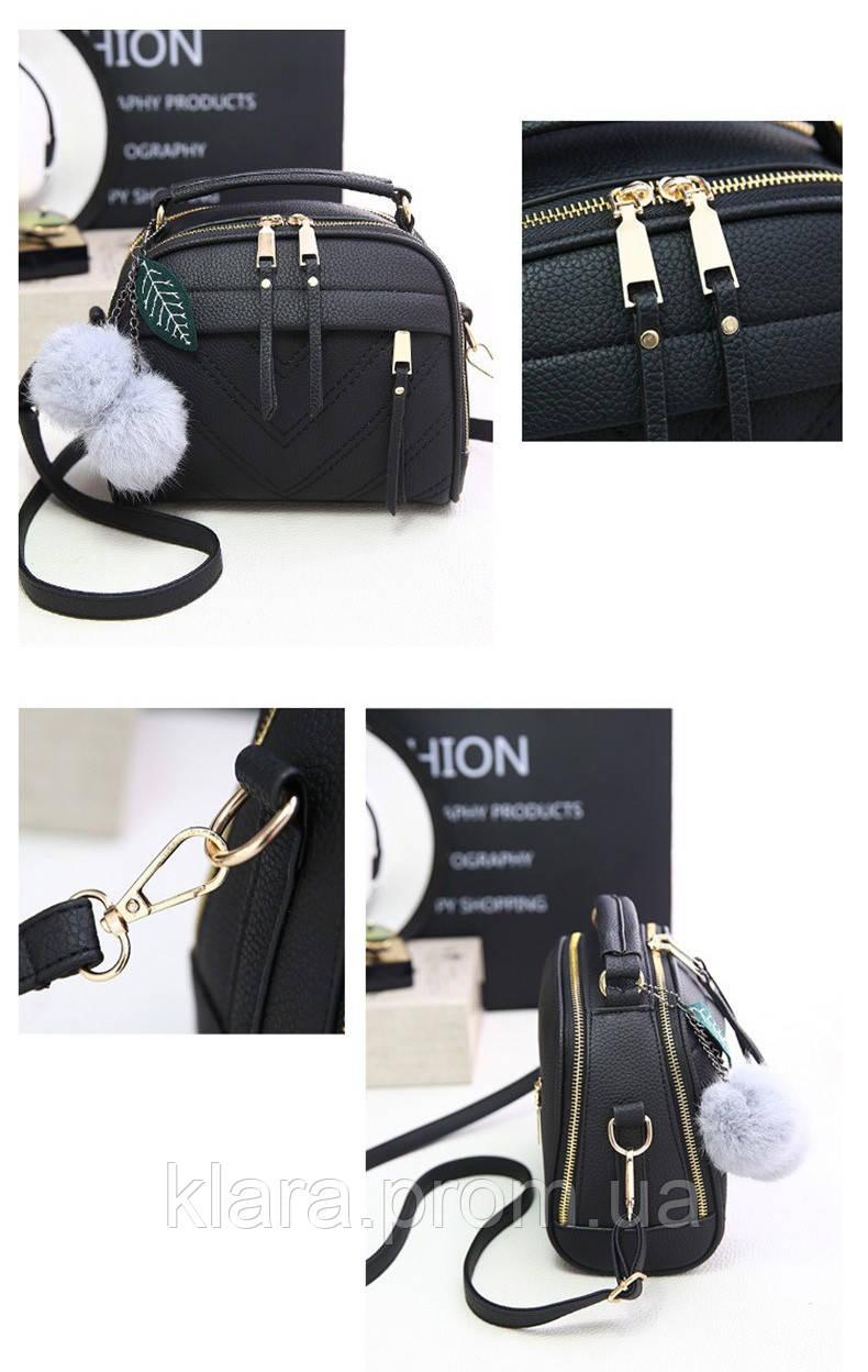 31ebdbde ... Красивая черная женская сумка в форме чемоданчика с меховым брелком, ...