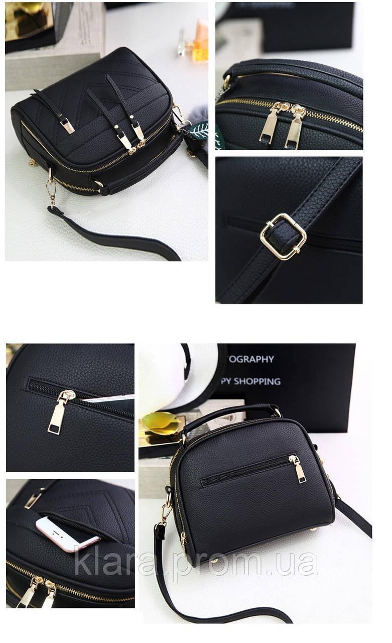 d82e1d88 ... Красивая черная женская сумка в форме чемоданчика с меховым брелком,  фото 4