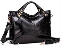 Стильная черная женская сумка с ручками и плечевым ремнем