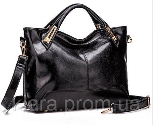 c63123e4c111 Универсальная черная под лак женская сумка с ручками и плечевым ремнем