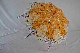 """Прозрачный зонт-трость с цветком по куполу от фирмы """"Love Rain"""""""