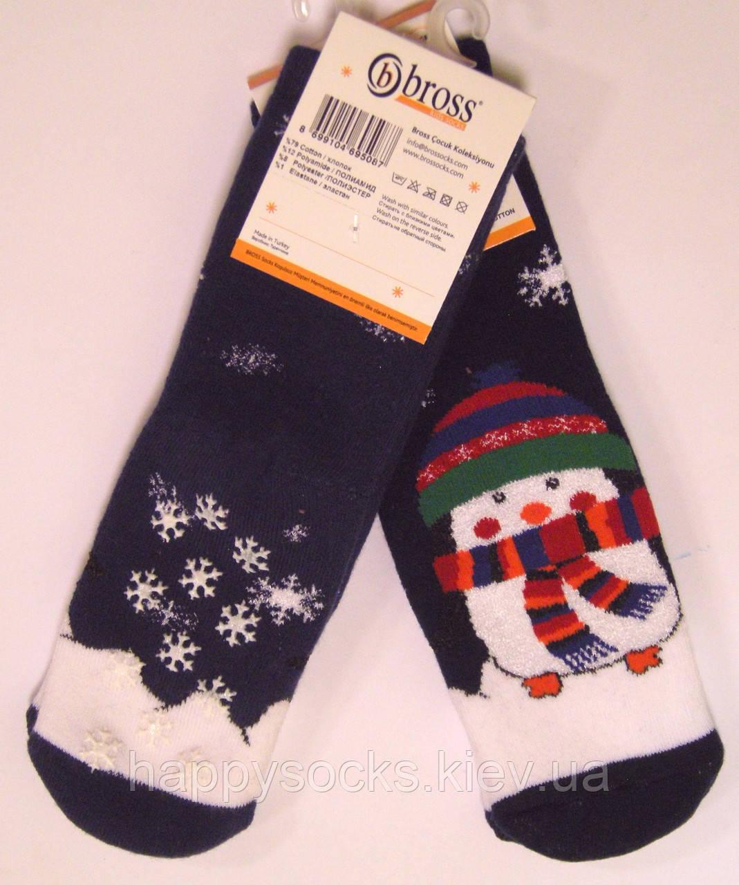 Махровые носки со стопперами детские снеговик