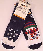 Махровые носки со стопперами детские снеговик, фото 1