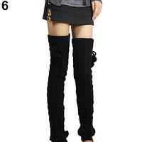 Длинные черные женские гетры с помпонами выше колена