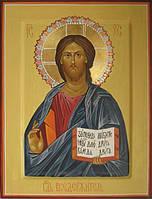Икона Спасителя, рукописные иконы на сусальном золоте