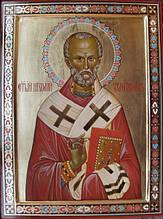Рукописная икона Святого Николая Чудотворца