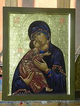 Рукописная икона Богородицы на сусальном золоте