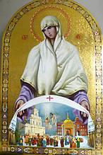 Рукописная икона Волынской Богородицы Покрова