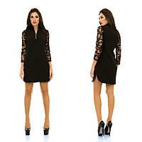 Красивое черное коктейльное платье с сетчастыми рукавами