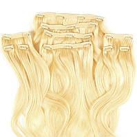Набор натуральных волос на клипсах 50 см 150 грамм Beauties Factory оттенок 613 Блонд
