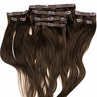 Набор натуральных волос на клипсах 50 см 150 грамм Beauties Factory оттенок 2 горький шоколад