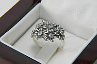 Кольцо серебряное с чернением и фианитами Букет, фото 1