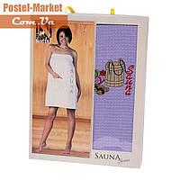 Женское полотенце для сауны вафельное Nilteks фиолетовое