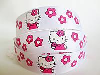 "Лента репсовая ""Hello Kitty"" белый, 2,5 см."