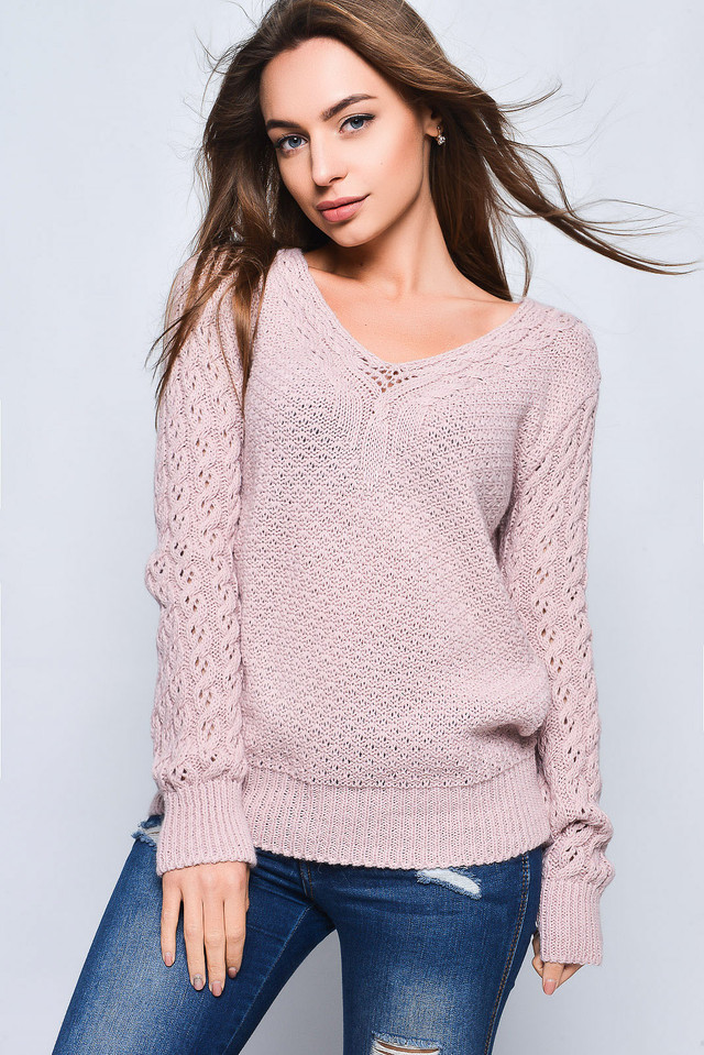 Цвет пудра Вязаных женских свитеров Блайс
