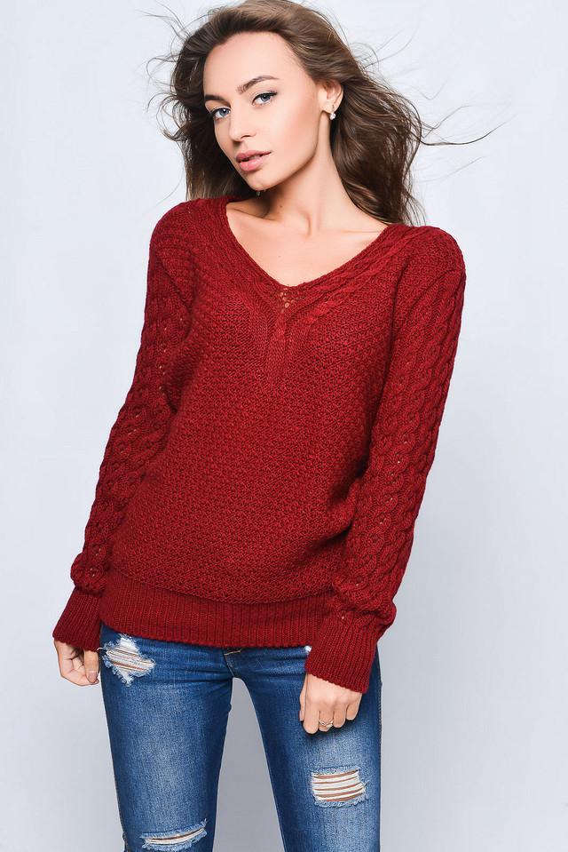 Цвет бордо Вязаных женских свитеров Света