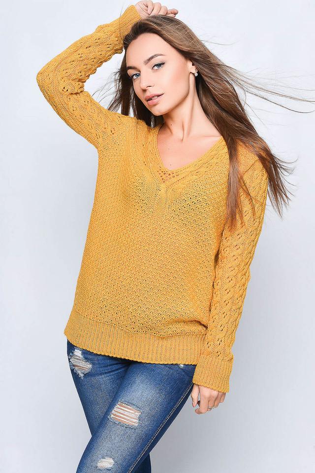 Цвет Горчица Вязаных женских свитеров Блайс