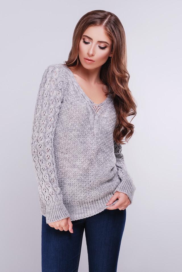 Светло-серый цвет Вязаных женских свитеров Блайс