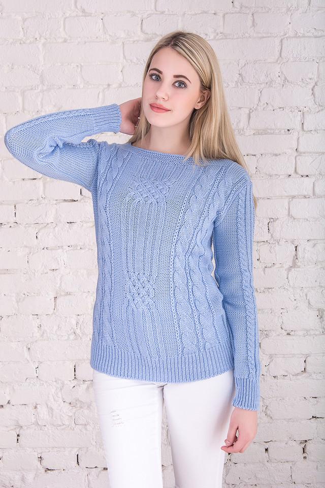 Голубой цвет Вязаных женских свитеров Грейс
