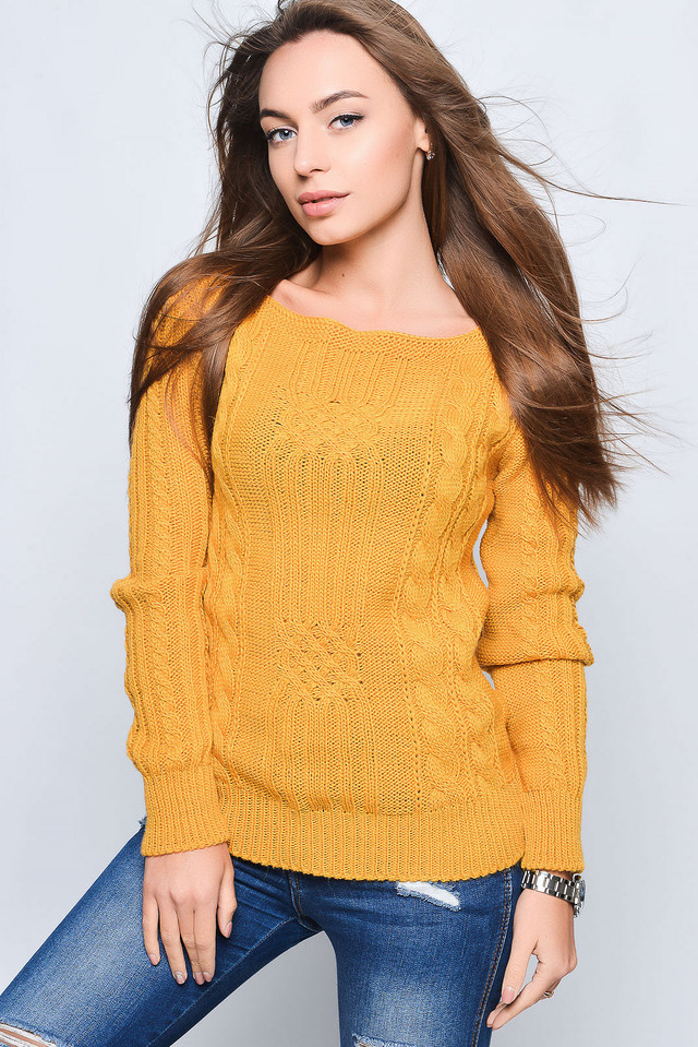 Цвет Горчица Вязаных женских свитеров Грейс