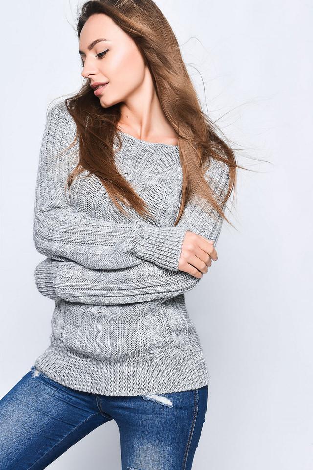 Светло-серый цвет Вязаных женских свитеров Грейс