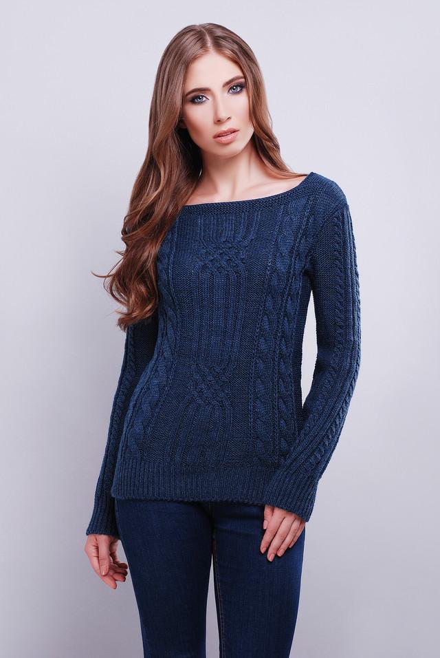 Синий цвет Вязаных женских свитеров Грейс