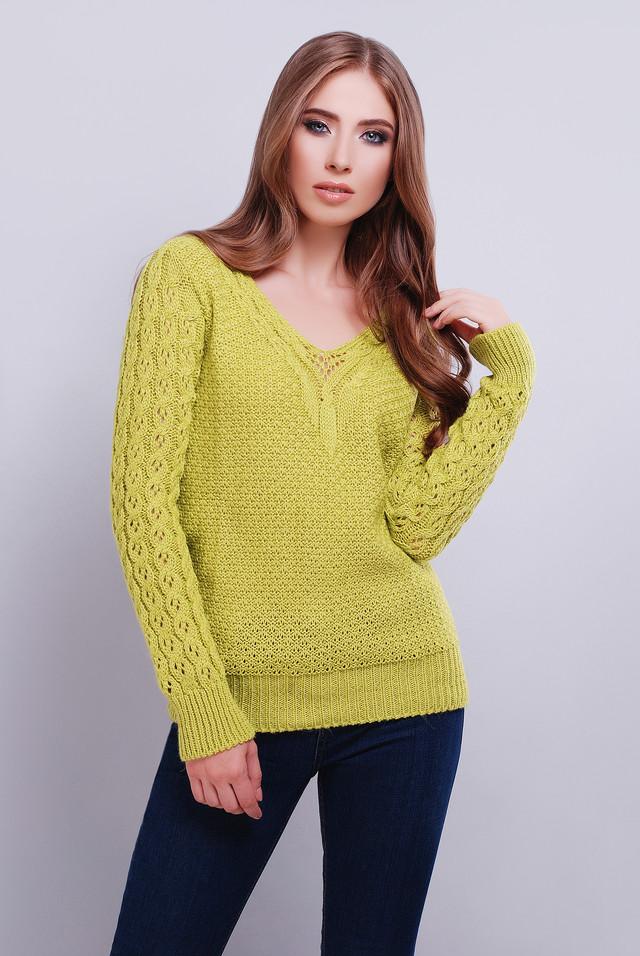 Фисташковый цвет Вязаных женских свитеров Блайс