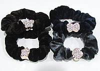 Бархатная резинка для волос со стразами 12 шт/уп, фото 1