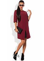 Бордовое платье с эффектом двуслойности и брошкой