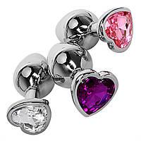 Анальная пробка сердечко большая Swarovski Big Love Crystal ♠