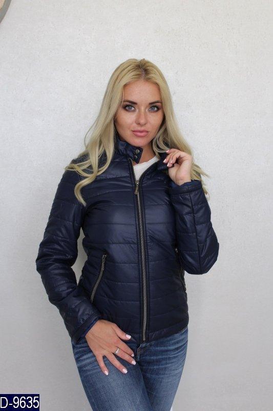 ae1e7eac555 Стеганная утепленная женская куртка с кнопками на воротнике стойке  темно-синего цвета. Арт - 18151