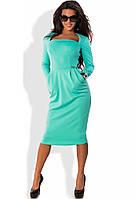 Приталенное мятное платье с квадратным вырезом