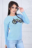 Свитер женский Оригинальный голубой велосипед из камней