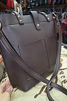 Большая Женская сумка с двумя внешними карманами (черная, коричневая и серая)