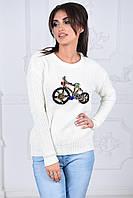 Свитер женский Оригинальный белый велосипед из камней