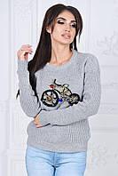 Свитер женский Оригинальный серый велосипед из камней