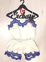 Нежный комплект для сна майка -шорты с кружевом