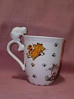 Большая чашка с кошками фарфоровая 12,5см высота х9,5см