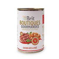 Консервы Brit Boutiques Gourmandes ChickenBits&Pate 400г*12шт-кусочки курицы в паштете для собак