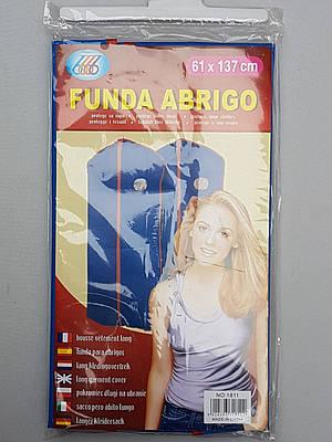 Чехол для хранения одежды из плащевки с молнией и окошком, голубого цвета, размер 61*137 см
