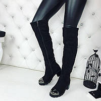 Женские зимние сапоги чёрные с железным носком