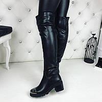 Женские зимние сапожки чёрные с железным носком