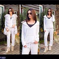 Стильный белый женский спортивный костюм ангора меланж Арт-15125