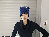 Женская шапка с жемчугом тонкая двойная натуралка