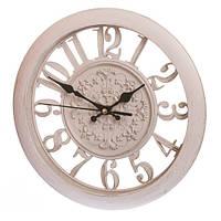 Часы настенные кремовые с полу-прозрачным циферблатом