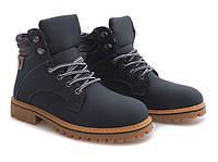 Ботинки зима, из искусственной кожи синего цвета