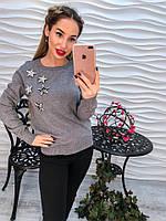 Женский красивый свитер машинной вязки с декором звезды (3 цвета)