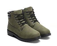 Женские зимние ботинки зелёного цвета от польского производителя